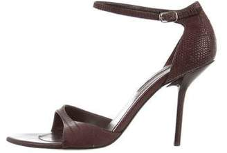 Narciso Rodriguez Embossed Leather Ankle Strap Sandals