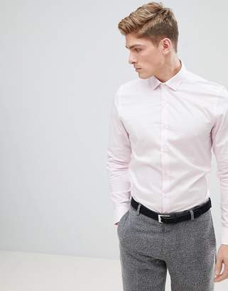 Moss Bros Extra Slim Smart Shirt In Light Pink With Stretch