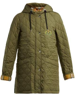 Burberry Roxwell Hooded Quilted Cotton Jacket - Womens - Khaki