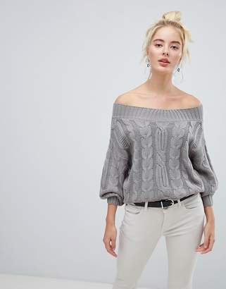 Fashion Union Off Shoulder Sweater In Cable Knit