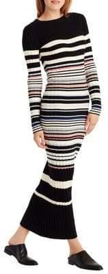 Ella Moss Striped Sweater Pencil Maxi Dress