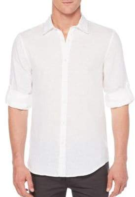 Perry Ellis Linen Roll-Sleeve Shirt