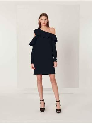 Oscar de la Renta One-Shoulder Bonded Stretch-Crepe Ruffle Dress