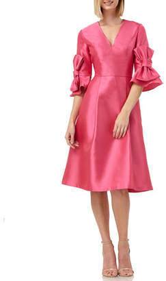 Kay Unger New York V-Neck Elbow-Sleeve Mikado Fit-&-Flare Dress with 3D Bows
