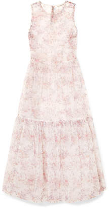 Ulla Johnson Polline Tiered Floral-print Organza Midi Dress - Pink