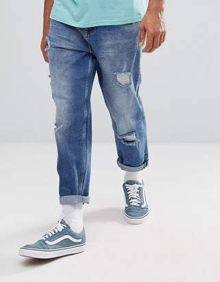 Asos Skater Fit Jeans In Mid Wash With Rips