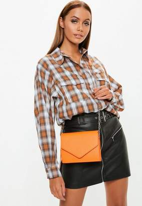 Missguided Orange Chain Cross Body Bag, Orange