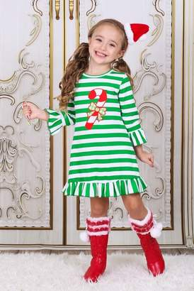 Mia Belle Girls Green White Striped Long Sleeve Dress with Candy Cane Applique (Toddler & Little Girls)