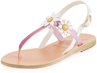 Ancient Greek Sandals Sylvie Leather T-Strap Sandal w/ Flower Appliqué;s