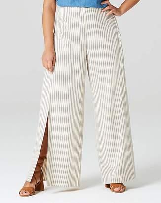 Fashion World Wrap Linen Stripe Wide Leg Trouser