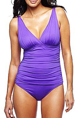 JCPenney a.n.a® Shirred V-Neck One-Piece Swimsuit