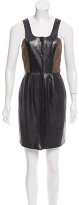 Derek Lam Leather-Paneled Shift Dress