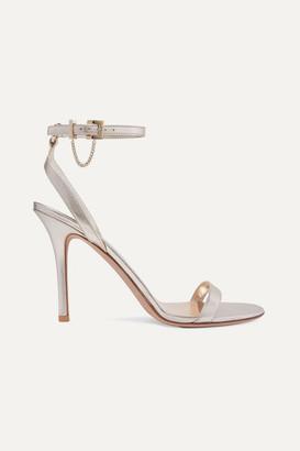 Valentino Garavani Tiny Chain 100 Metallic Leather Sandals - Gold