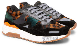 Versace Achilles Panelled Leopard-print Calf Hair Sneakers - Multi