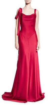 Theia Sleeveless Satin Draped Gown, Red $1,195 thestylecure.com