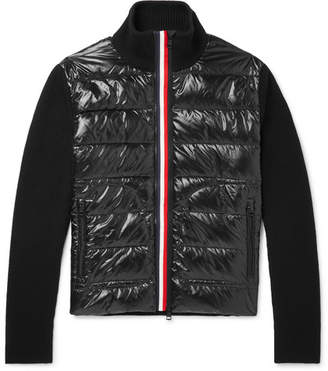Moncler Panelled Virgin Wool and Quilted Shell Down Jacket - Black