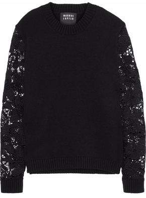 Markus Lupfer Natalie Guipure Lace-Paneled Wool-Blend Sweater