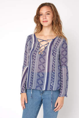 Juniper Blu Tribal Print Lace Up Sheer Top