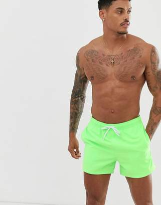 5fbe6d17faf8d Asos Design DESIGN swim shorts in neon green super short length