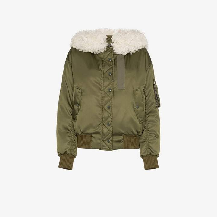 high neck quilted shearling parka