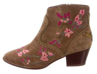 Ash Floral-Embroidered Ankle Boots