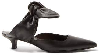 The Row Coco Leather Kitten Heel Mules - Womens - Black