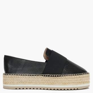 Black Leather Elasticated Strap Espadrilles