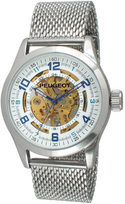Peugeot Mens Stainless Steel Skeleton Watch 1050S