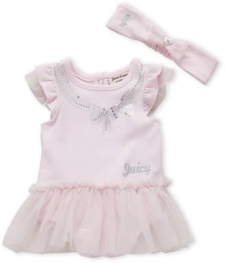 Juicy Couture Newborn Girls) Two-Piece Studded Bow Tutu Bodysuit & Headband Set
