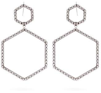 Isabel Marant Here It Is Crystal Hexagon Drop Earrings - Womens - Silver