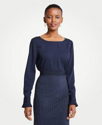 Ann Taylor Tall Pleated Cuff Boatneck Blouse