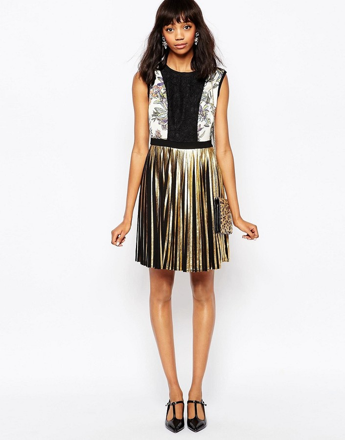Sportmax Code Mini Dress with Metallic Pleated Skirt