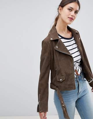 Lab Leather Lab Suede Biker Jacket in Khaki