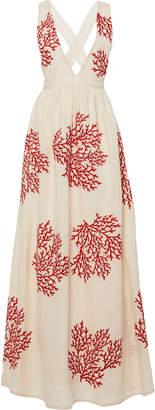 Agua Bendita Agua by Naturalia Coral-Printed Cross-Back Linen Dress