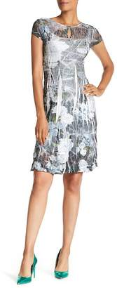 Komarov Cap Sleeve Keyhole Print Dress