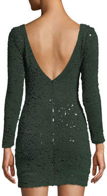 Dress the Population Lola Long-Sleeve Scoop-Back Sequin Mini Cocktail Dress