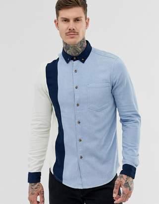 Asos Design DESIGN oversized denim 90's style cut & sew shirt