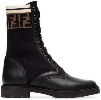 Fendi black and brown rockoko FF logo leather boots