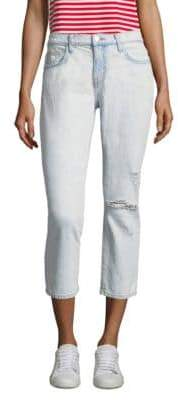 Current/Elliott The Cropped Distressed Straight Leg Jeans