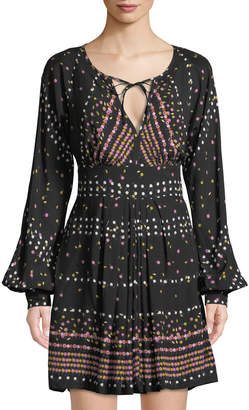 Free People Polka-Dot Slit-Placket Mini Dress