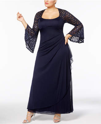 Xscape Evenings Plus Size Ruched Lace Bell-Sleeve Gown