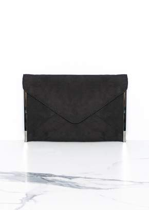 e4dd5fa9bb5 Missy Empire Missyempire Jamie Black Suede Clutch Bag