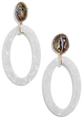 Trisha Drusy & Oval Drop Earrings