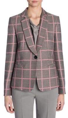 Giorgio Armani Long-Sleeve Shawl Collar Houndstooth Check Jacket