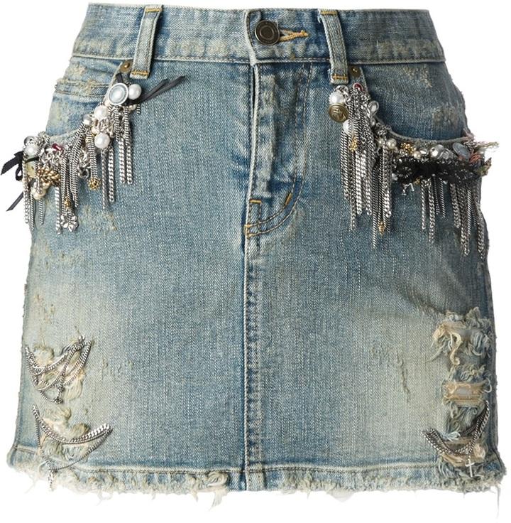 Saint Laurent embellished denim miniskirt