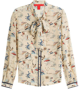 Tommy Hilfiger Printed Silk Blouse with Pussbyow