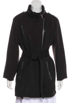 Michael Kors Leather-Trimmed Zip-Up Coat