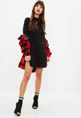 Missguided Black Long Sleeve Turtle Neck Swing Dress