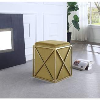 Chic Home Zeleeka Ottoman Brass Finished Stainless Steel X Frame Square Velvet Bench, Contemporary Modern, Cognac