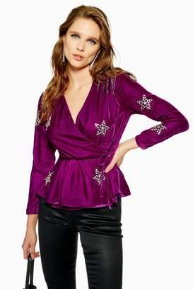 Topshop PETITE Velvet Embellished Star Wrap Blouse